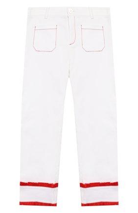 Детского хлопковые брюки STELLA JEAN KIDS белого цвета, арт. 20E/J/JF/PA03/1141/8A-14A   Фото 1