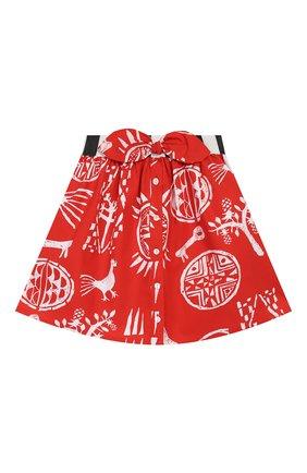 Детская хлопковая юбка STELLA JEAN KIDS красного цвета, арт. 20E/J/JF/G001/0324/4A-6A   Фото 1