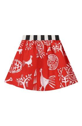Детская хлопковая юбка STELLA JEAN KIDS красного цвета, арт. 20E/J/JF/G001/0324/4A-6A   Фото 2