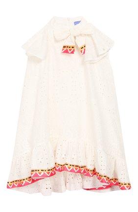 Детское хлопковое платье STELLA JEAN KIDS белого цвета, арт. 20E/J/JF/AB41/3210/8A-14A   Фото 1
