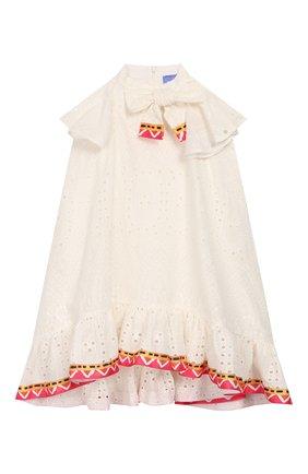 Детское хлопковое платье STELLA JEAN KIDS белого цвета, арт. 20E/J/JF/AB41/3210/4A-6A   Фото 1