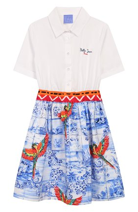 Детское хлопковое платье STELLA JEAN KIDS голубого цвета, арт. 20E/J/JF/AB26/0348/8A-14A   Фото 1