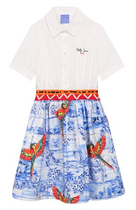 Детское хлопковое платье STELLA JEAN KIDS голубого цвета, арт. 20E/J/JF/AB26/0348/4A-6A   Фото 1