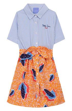 Детское хлопковое платье STELLA JEAN KIDS разноцветного цвета, арт. 20E/J/JF/AB24/0347/4A-6A   Фото 1