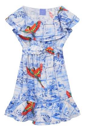 Детское хлопковое платье STELLA JEAN KIDS голубого цвета, арт. 20E/J/JF/AB23/0348/8A-14A   Фото 1