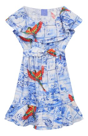 Детское хлопковое платье STELLA JEAN KIDS голубого цвета, арт. 20E/J/JF/AB23/0348/4A-6A   Фото 1