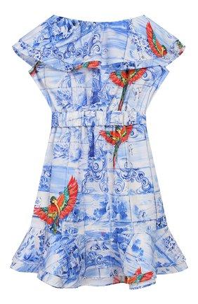 Детское хлопковое платье STELLA JEAN KIDS голубого цвета, арт. 20E/J/JF/AB23/0348/4A-6A   Фото 2
