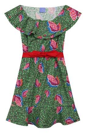 Детское хлопковое платье STELLA JEAN KIDS зеленого цвета, арт. 20E/J/JF/AB23/0347/8A-14A   Фото 1
