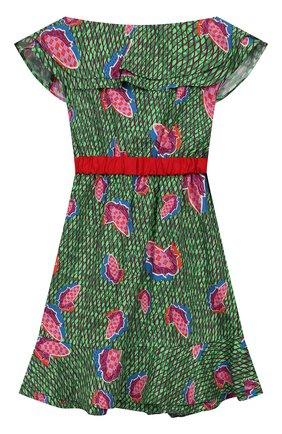 Детское хлопковое платье STELLA JEAN KIDS зеленого цвета, арт. 20E/J/JF/AB23/0347/8A-14A   Фото 2
