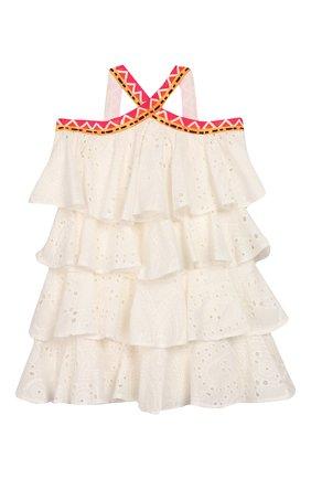 Детское хлопковое платье STELLA JEAN KIDS белого цвета, арт. 20E/J/JF/AB22/3210/8A-14A   Фото 1