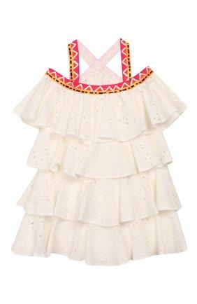 Детское хлопковое платье STELLA JEAN KIDS белого цвета, арт. 20E/J/JF/AB22/3210/8A-14A   Фото 2