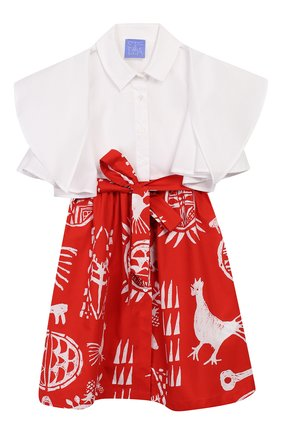Детское хлопковое платье STELLA JEAN KIDS красного цвета, арт. 20E/J/JF/AB21/0324/8A-14A   Фото 1