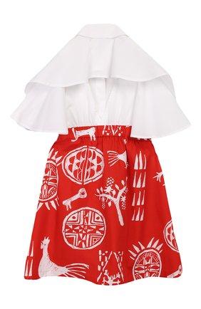 Детское хлопковое платье STELLA JEAN KIDS красного цвета, арт. 20E/J/JF/AB21/0324/8A-14A   Фото 2