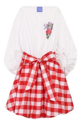Детское хлопковое платье STELLA JEAN KIDS красного цвета, арт. 20E/J/JF/AB07/0322/8A-14A   Фото 1