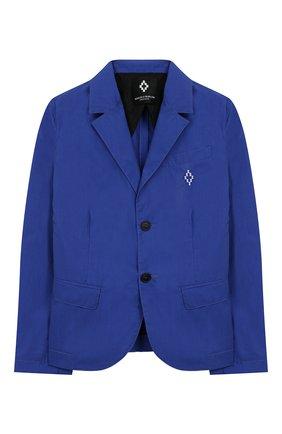 Детский хлопковый пиджак MARCELO BURLON KIDS OF MILAN синего цвета, арт. 20E/B/MB/5291/5000/8-14Y | Фото 1