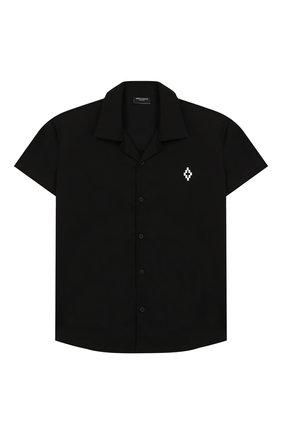Детская хлопковая рубашка MARCELO BURLON KIDS OF MILAN черного цвета, арт. 20E/B/MB/2095/0317/8-14Y | Фото 1 (Рукава: Короткие; Материал внешний: Хлопок; Случай: Повседневный; Ростовка одежда: 12 лет | 152 см, 13 - 15 лет | 158 см, 8 лет | 128 см)