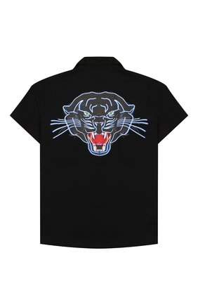 Детская хлопковая рубашка MARCELO BURLON KIDS OF MILAN черного цвета, арт. 20E/B/MB/2095/0317/8-14Y | Фото 2 (Рукава: Короткие; Материал внешний: Хлопок; Случай: Повседневный; Ростовка одежда: 12 лет | 152 см, 13 - 15 лет | 158 см, 8 лет | 128 см)