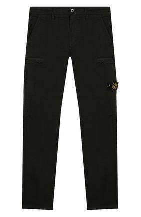 Детские хлопковые брюки STONE ISLAND темно-зеленого цвета, арт. 721630912/6-8 | Фото 1