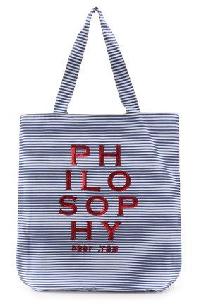 Детская хлопковая сумка PHILOSOPHY DI LORENZO SERAFINI KIDS синего цвета, арт. PJB007/CR206/VH031 | Фото 1