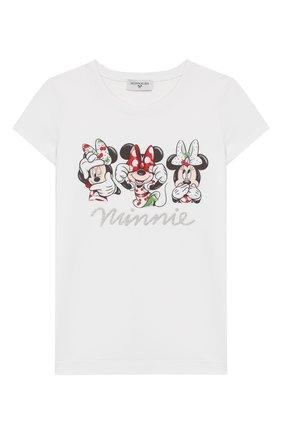 Детская хлопковая футболка MONNALISA белого цвета, арт. 115628SX | Фото 1