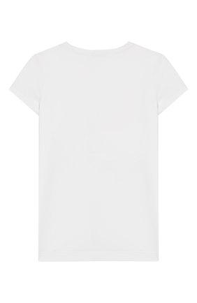 Детская хлопковая футболка MONNALISA белого цвета, арт. 115628SX | Фото 2