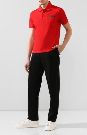 Мужское хлопковое поло GIVENCHY красного цвета, арт. BM70U73006 | Фото 2
