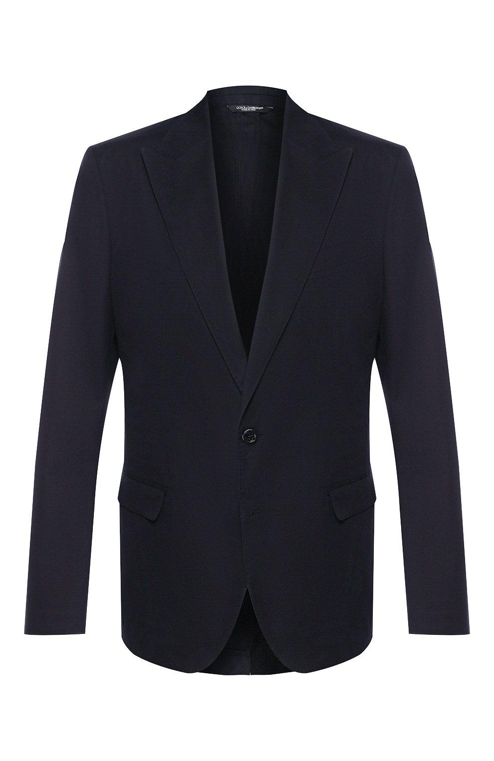 Мужской пиджак из смеси хлопка и шелка DOLCE & GABBANA синего цвета, арт. G2NW0T/FU5SZ | Фото 1