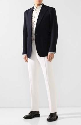 Мужской пиджак из смеси хлопка и шелка DOLCE & GABBANA синего цвета, арт. G2NW0T/FU5SZ | Фото 2
