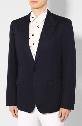 Мужской пиджак из смеси хлопка и шелка DOLCE & GABBANA синего цвета, арт. G2NW0T/FU5SZ | Фото 3