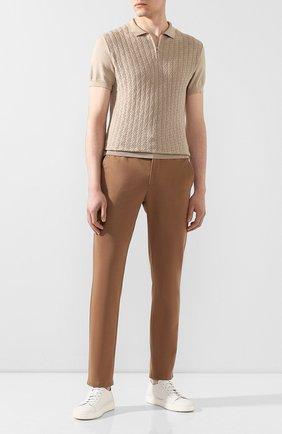 Мужские хлопковые брюки ANDREA CAMPAGNA светло-коричневого цвета, арт. SPIAGGIA/AN1100 | Фото 2