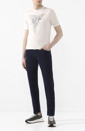 Мужская хлопковая футболка ZILLI белого цвета, арт. MBT-NT530-JETE1/MC02 | Фото 2 (Длина (для топов): Стандартные; Рукава: Короткие; Материал внешний: Хлопок; Стили: Кэжуэл)