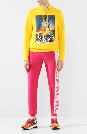 Мужской хлопковые джоггеры ICEBERG розового цвета, арт. 20E I2P0/AB01/7604   Фото 2