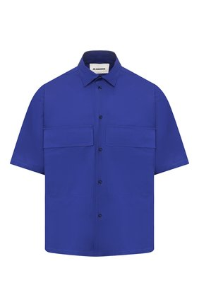 Мужская хлопковая рубашка JIL SANDER синего цвета, арт. JSMQ741526-MQ244200 | Фото 1