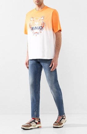 Мужская хлопковая футболка KENZO оранжевого цвета, арт. FA55TS5014YG   Фото 2