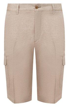 Мужские льняные шорты LUCIANO BARBERA бежевого цвета, арт. 114625/71119 | Фото 1