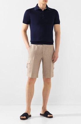 Мужские льняные шорты LUCIANO BARBERA бежевого цвета, арт. 114625/71119 | Фото 2