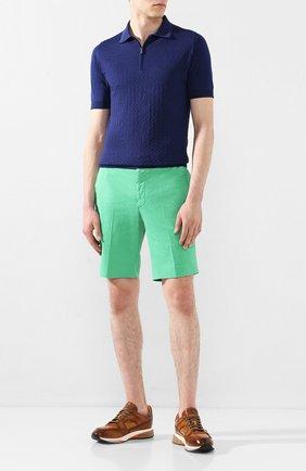Мужские хлопковые шорты RALPH LAUREN зеленого цвета, арт. 790800040 | Фото 2 (Принт: Без принта; Материал внешний: Хлопок; Длина Шорты М: До колена; Мужское Кросс-КТ: Шорты-одежда; Стили: Кэжуэл)