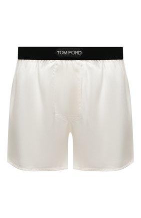 Мужские шелковые боксеры TOM FORD белого цвета, арт. T4LE40010   Фото 1