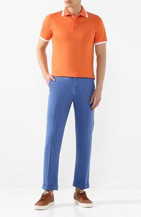 Мужские льняные брюки KITON голубого цвета, арт. UFPLACJ07S40   Фото 2