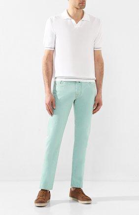 Мужские джинсы JACOB COHEN светло-зеленого цвета, арт. J622 C0MF 01861-W1/53 | Фото 2