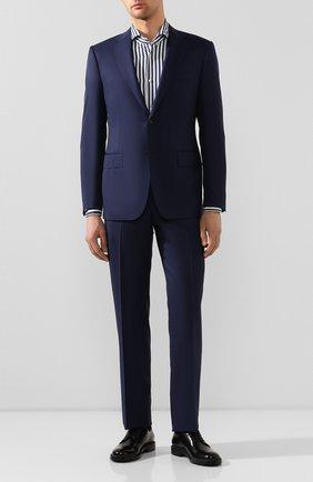 Мужская хлопковая сорочка BOSS синего цвета, арт. 50428963 | Фото 2