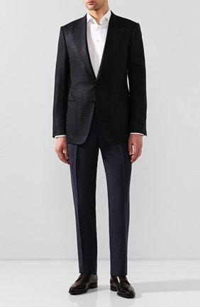 Мужские брюки из смеси шелка и льна RALPH LAUREN темно-синего цвета, арт. 798794547 | Фото 2 (Материал подклада: Вискоза; Материал внешний: Шелк, Лен; Длина (брюки, джинсы): Стандартные; Случай: Формальный; Стили: Классический)