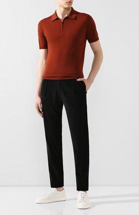 Мужской брюки из смеси хлопка и шелка MARCO PESCAROLO черного цвета, арт. CHIAIA/4111 | Фото 2