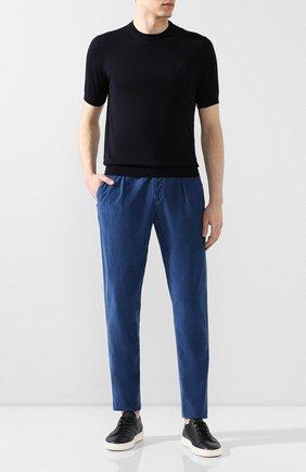 Мужской брюки из смеси хлопка и шелка MARCO PESCAROLO синего цвета, арт. CHIAIA/4111 | Фото 2