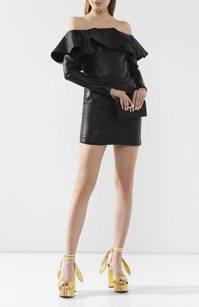 Женское кожаное платье SAINT LAURENT черного цвета, арт. 600593/YC2UE | Фото 2