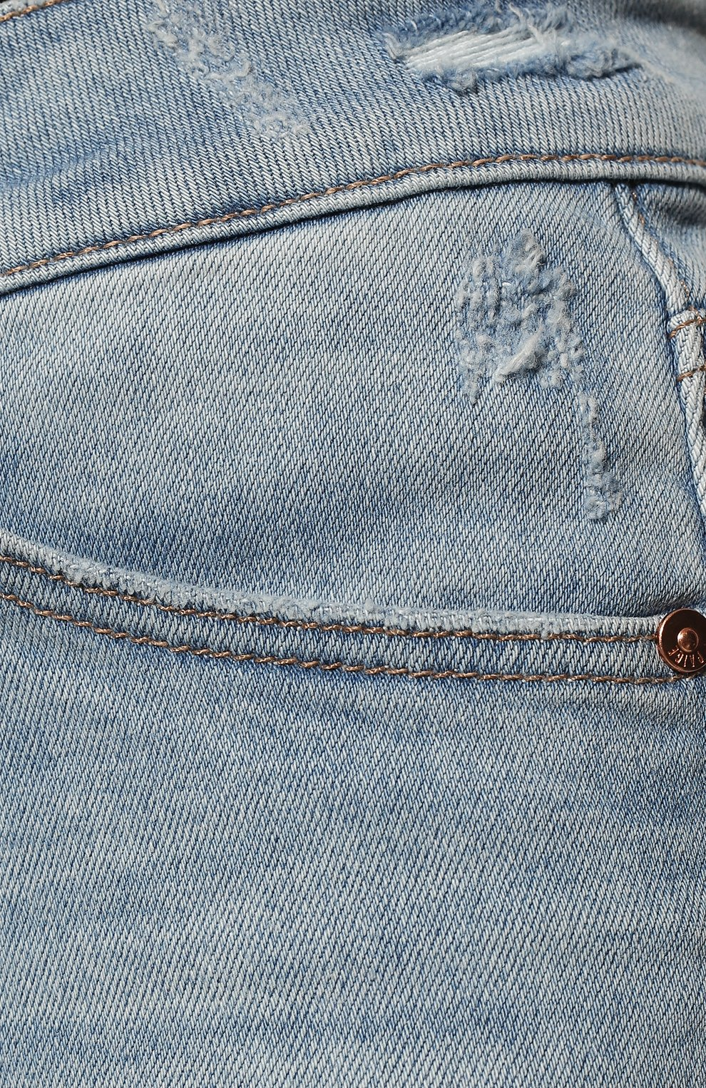Женские джинсовые шорты PAIGE голубого цвета, арт. 5140F72-7653   Фото 5 (Женское Кросс-КТ: Шорты-одежда; Кросс-КТ: Деним; Длина Ж (юбки, платья, шорты): Мини; Материал внешний: Хлопок; Стили: Кэжуэл)