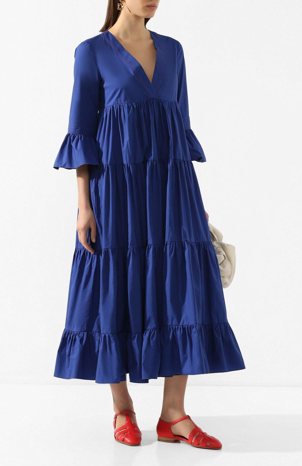 Женское хлопковое платье LA DOUBLEJ синего цвета, арт. DRE0114-C0T001-BLU0005_ED20 | Фото 2