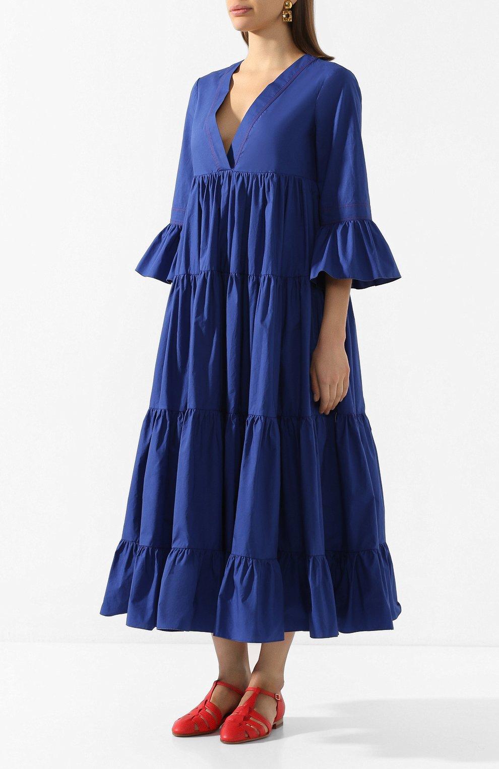 Женское хлопковое платье LA DOUBLEJ синего цвета, арт. DRE0114-C0T001-BLU0005_ED20 | Фото 3