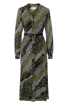 Женское платье с ремнем MICHAEL MICHAEL KORS зеленого цвета, арт. MH98Y46DGU | Фото 1