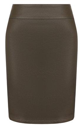 Женская кожаная юбка HELMUT LANG хаки цвета, арт. K01HW305 | Фото 1